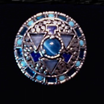 """Miracle Jewelry"" Bohemian Glass Scottish Brooch / Circa 20th Century"