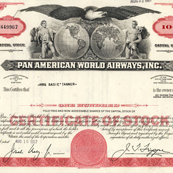 1960s Pan Am, Hojos, and General Motors Stock Certificates