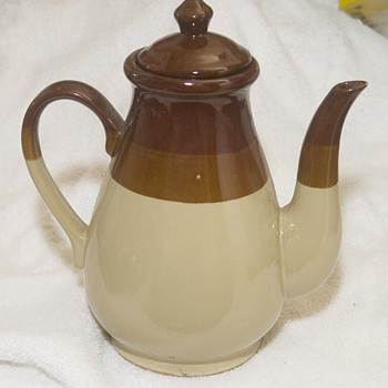 Stoneware  Tea or Coffee pot from New England  w/2 different salt-glazed surfaces - Art Pottery