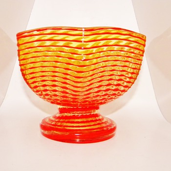 Art Deco Kralik Vaseline Waves of Ribbons Compote Glass Vase Bowl - Art Glass