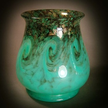 Monart Turquoise Vase - Art Glass