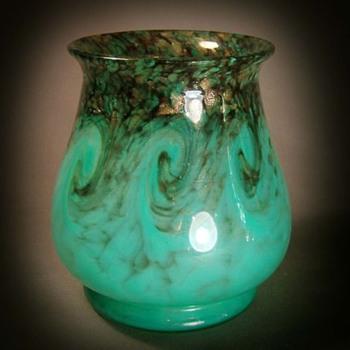 Monart Turquoise Vase - Art Glass
