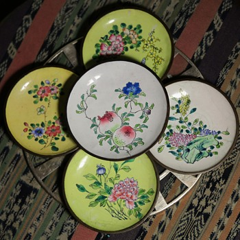 Canton Enamel Bowls or Ashtrays - signed 'China' - Asian