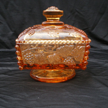 amber depression glass candy dish w/ grapevine pattern. - Glassware