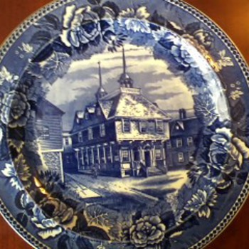 "Boston Town House Blue Transferware By Wedgewood 1899---""One of a kind as far as I can tell"" Challenge!! Somebody dispute me!!"