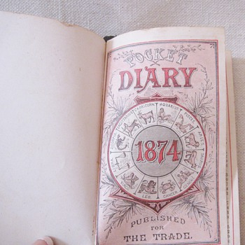1874 Antique American Leather Pocket Diary Almanac Published for Trade
