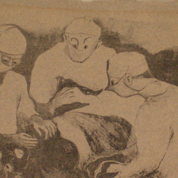 "Antique Drawing Of Doctors Operating Strange,Signed ""Cathie - Visual Art"
