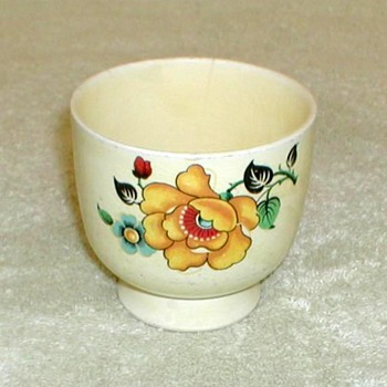 Yellow China Egg Cup with Floral Pattern