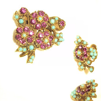 Purple and turquoise floral pin and earring set