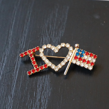 I Heart America Rhinestone Pin - Costume Jewelry