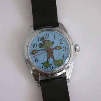 Blue Dial, Green Mickey - Wristwatches
