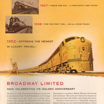 1952 - Pennsylvannia Railroad Advertisement - Advertising