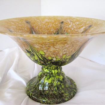 Impressive Large Heavy Compote Rückl Czech Marked With Rare Decor: 1