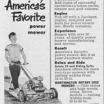 1952 - Jacobsen Lawnmowers Advertisement - Advertising