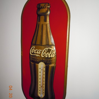 "1938 Coca-Cola Thermometer, 7"" x 16"",  Tin - Coca-Cola"