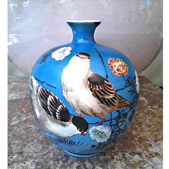 "Little 5"" Azure Blue Asian Vase /Hand Painted Pigeons with Flowers/Unknown Maker and Age - Asian"