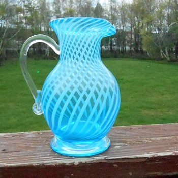 Art Glass Striped Pitcher