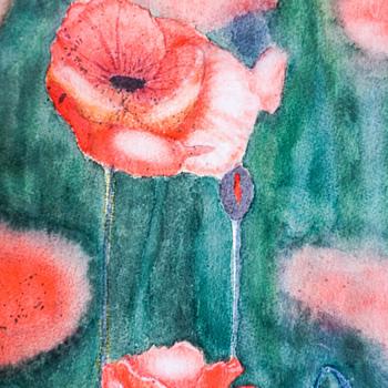 Field of Poppies Watercolor Painting - Folk Art