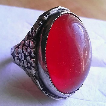 Antique or vintage? Art nouveau, carnelian glass?, sterling ring - Fine Jewelry