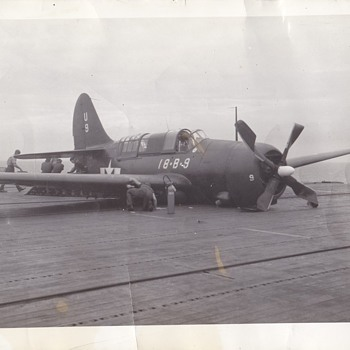 Vintage Photo Curtis Helldiver on Carrier Deck - Military and Wartime