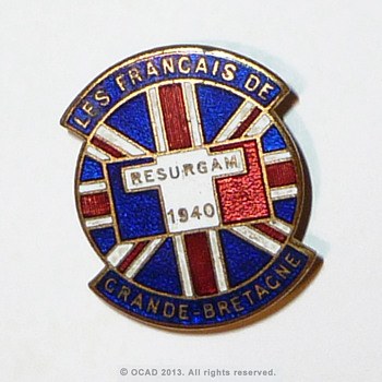 WW2 Free French organisation lapel badge