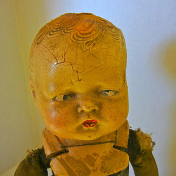 ANTIQUE GERMAN LW & CO MECHANICAL CHARACTER BOY DOLL ORIE-ANN PAT-PEND