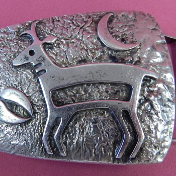 VINTAGE HOPI SILVER BELT BUCKLE W/MYSTERY MARK SIGNATURE