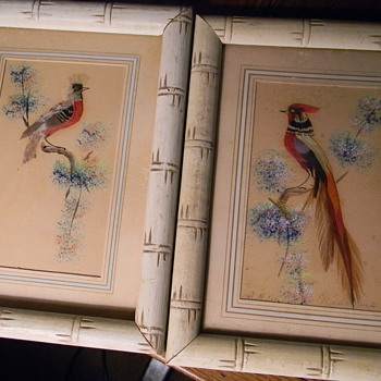 Bird pictures (made of feathers) 