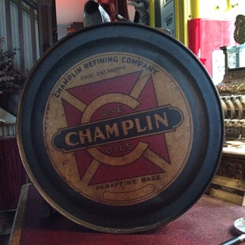 "1920's ""CHAMPLIN"" 5 gallon oil rocker can"