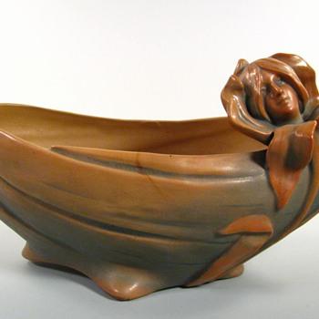 Antique Bloch Art Nouveau Pottery Figural Jardinier