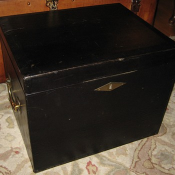 Vintage Patent Leather Covered Trunk - Furniture
