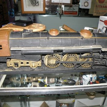 "vintage tin and cast iron train 29"" long"