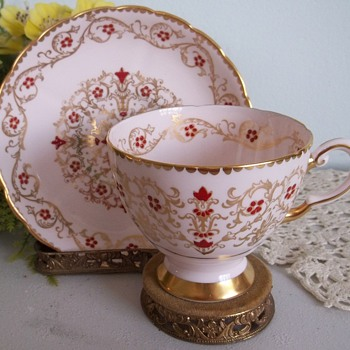 Tuscan fine bone china pink hand painted footed cup and saucer - China and Dinnerware