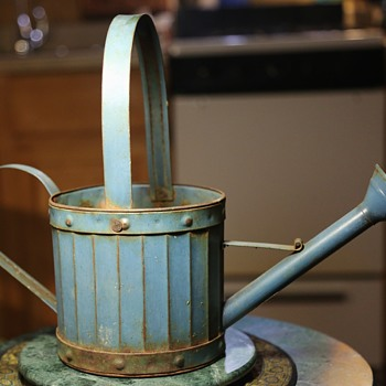 Small Watering Can in Blue Paint