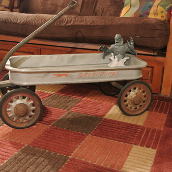 Vintage Aluminum Greyhound Wagon With Artillary Style Wheels  - Toys