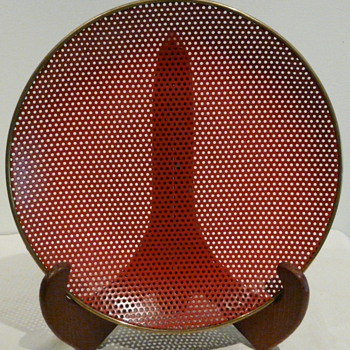 PERFORATED METAL PLATE/BOWL GOLD RIM - Mid-Century Modern