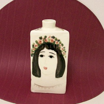 Italy? Triangular vase with painted womans head. Signature FB . . ?