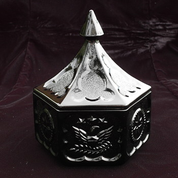 Tiara - Bicentennial Eagle & Star - Black - Hexagonal Covered Candy Dish
