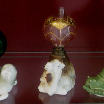 More 1880's Figural Porcelain Miniature Oil Lamps Of Quality