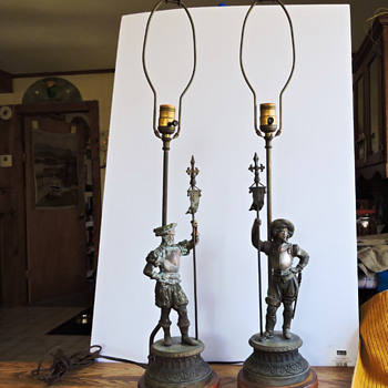 antique copper fiqurine table lamps