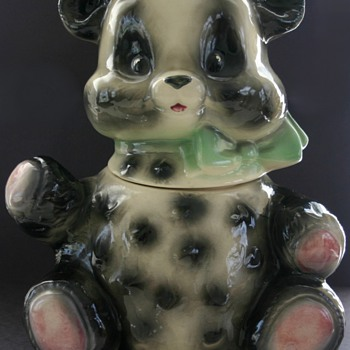 1950's Brush Pottery Panda Bear Cookie Jar W21 - Kitchen