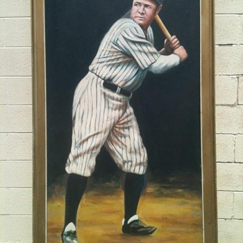 5'by 3' Oil PaintinG of Babe Ruth By: Pete J. Boruta - Baseball