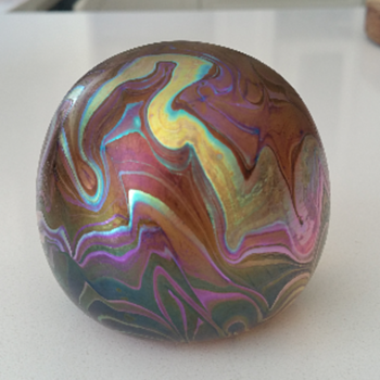 Igor Muller Iridescent Swirl Glass Paperweight - Art Glass