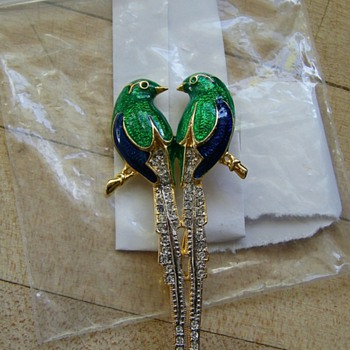 Enamel & Pave Birds Brooch ??? Help - Costume Jewelry