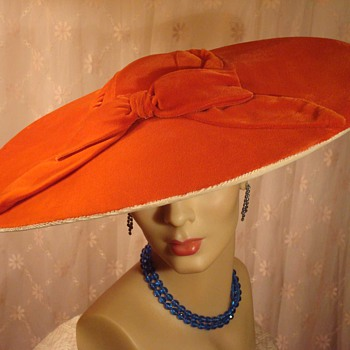 Hollywood Glam Orange Velvet Pancake Hat ca 1940s