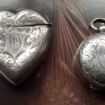 Antique sterling silver match vesta case & sovereign case