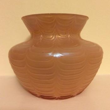 Draped salmon pink squat vase - Welz/Kralik