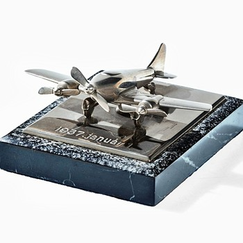 Airplane Model Dedication 1937 January 1, Chrome Metal and Marble Base - Advertising