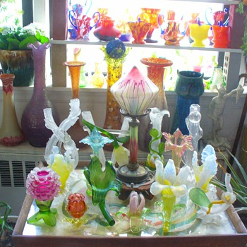 CZECH GLASS VASES AND FLOWERS - Art Glass