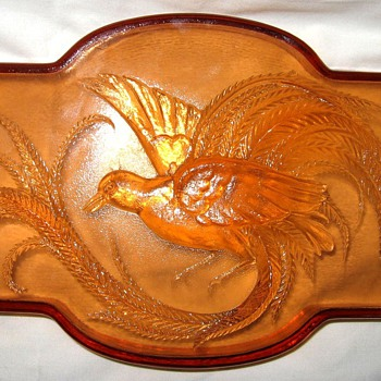 Peach glass footed bird tray - Glassware